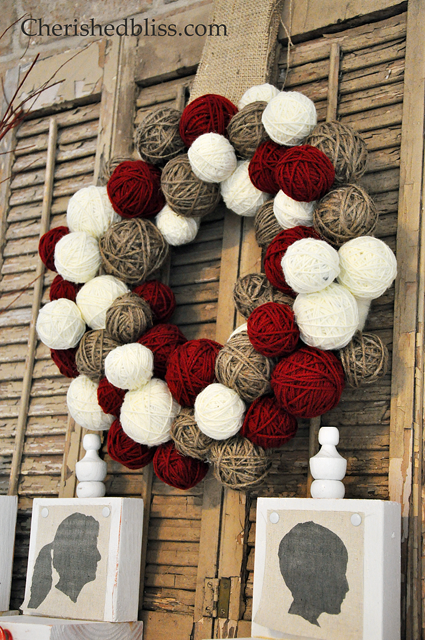 cheap way to make a yarn ball wreath via cherishedbliss.com