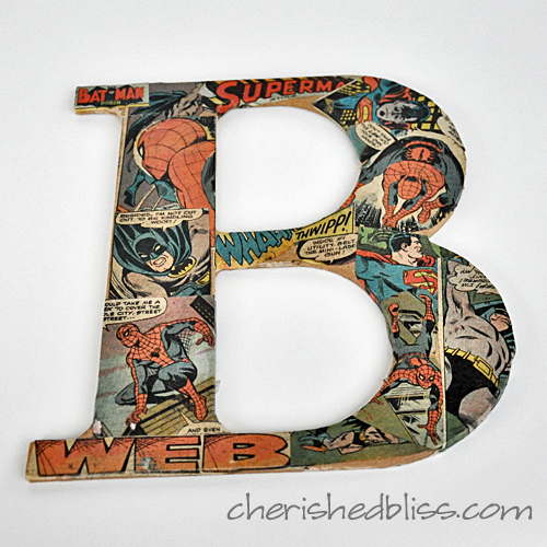 Mod Podge Comic Book Letters using old comic books via cherishedbliss.com