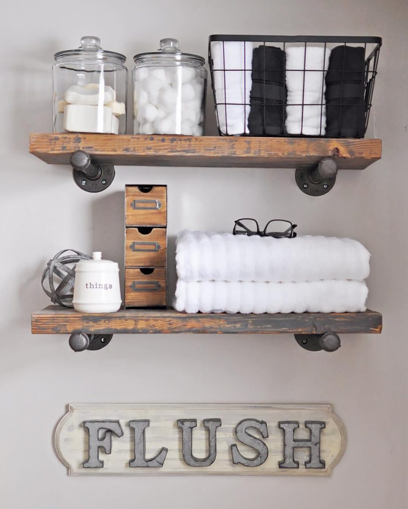How to build diy industrial pipe shelves cherished bliss for Bathroom shelves design
