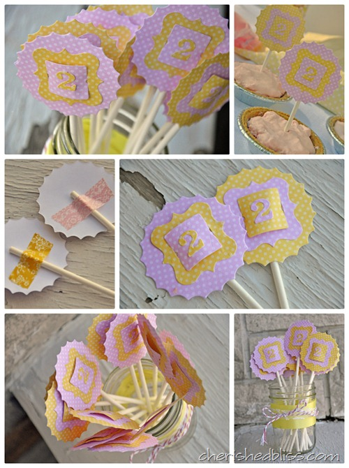 Mini Pie Toppers Pink Lemonade Party