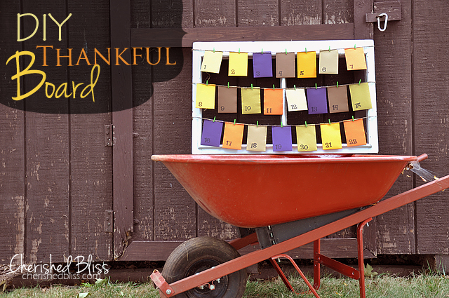 DIY Thankful Board by Cherished Bliss - each day you write what you're thankful for in cute li'l envelopes!