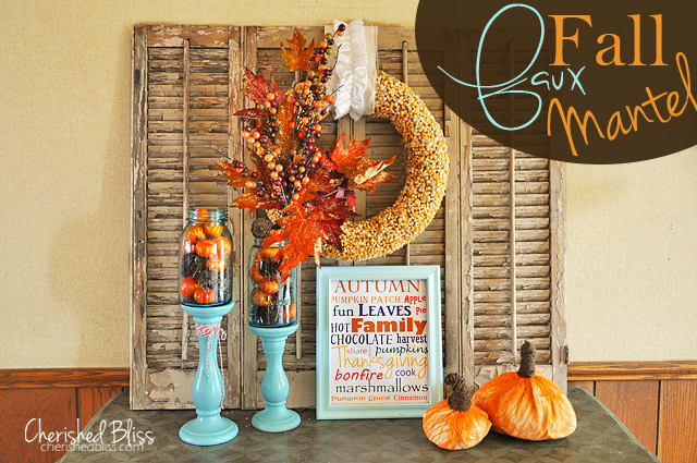 An Orange and Aqua Fall Mantel // Cherishedbliss.com