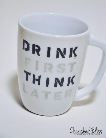 Stenciled Coffee Cup Quote Tutorial - cherishedbliss.com #plaid #marthastewart #marthaglass