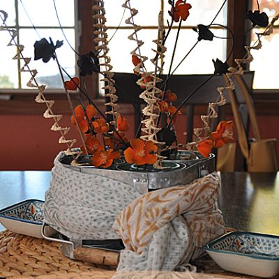Fall Centerpiece {Orange & Aqua}
