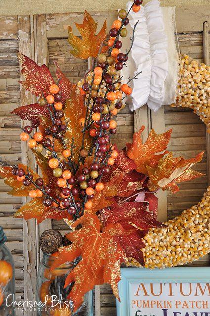 Autumn Popcorn Wreath Tutorial // Cherished Bliss #wreath #tutorial #fall