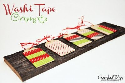 Washi Tape Ornaments {wooden tags}