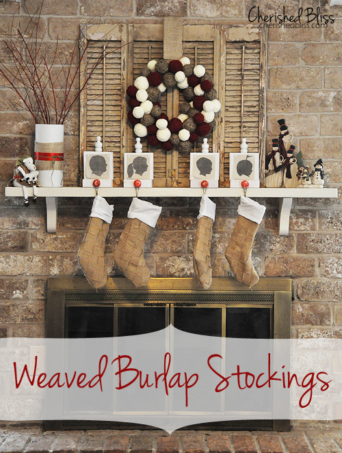"""Weaved Burlap Christmas Stockings"" Free Pattern designed by Ashley from Cherished Bliss"
