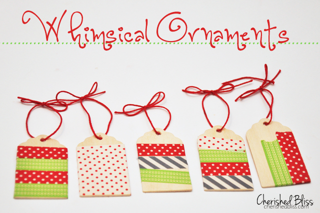 Washi Tape Ornaments made with wooden tags via cherishedbliss.com #christmas #ornaments #washitape