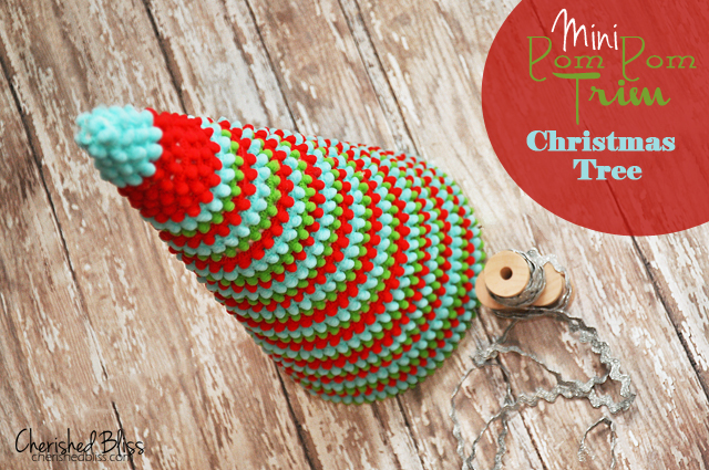 Whimsical Pom Pom Ribbon Christmas Tree via cherishedbliss.com #christmas