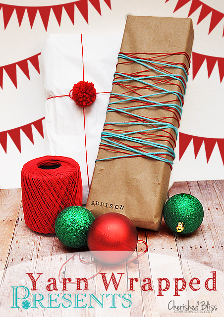 Gift Wrapping Ideas - a series by cherishedbliss.com {Yarn Wrapped Presents}