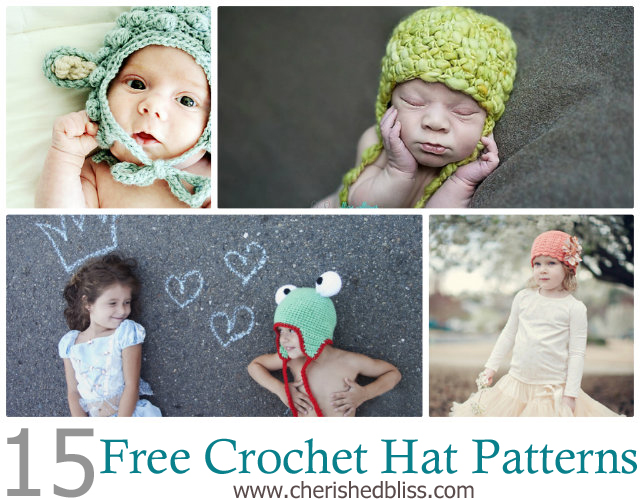 15 Free Crochet Hat Patterns via cherishedbliss.com