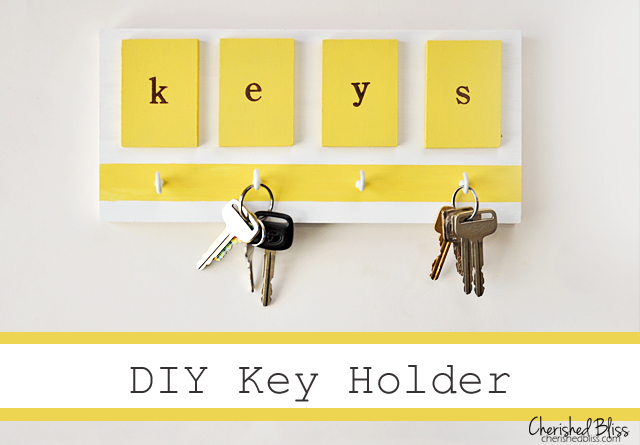 A brightly colored DIY Key Holder. Love it!! #DIY
