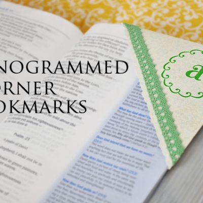 Monogrammed Corner Bookmarks