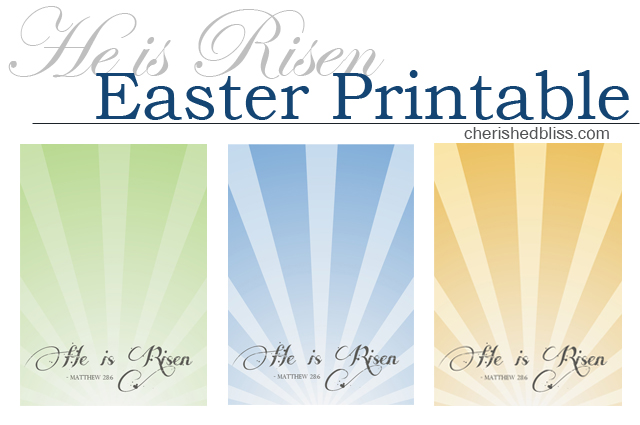 He is Risen Easter Printable