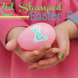 Kid Stamped Easter Eggs