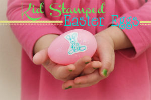 Kid Stamped Easter Eggs