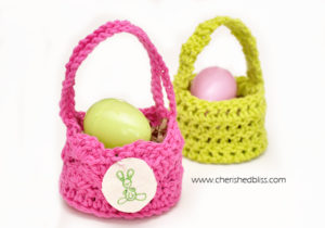 Mini Crochet Easter Egg Baskets