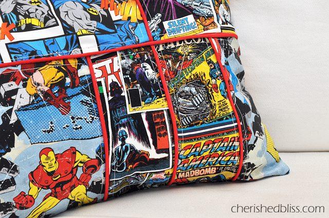 A super awesome Comic Book Superhero Pillow Tutorial via cherishedbliss.com