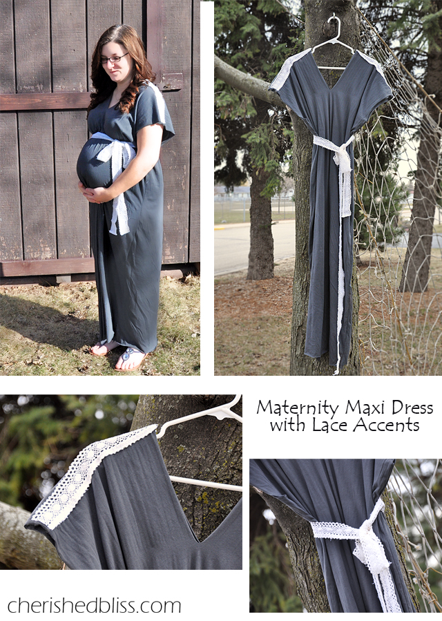 Very Easy Maternity Maxi Dress Tutorial via Cherishedbliss.com