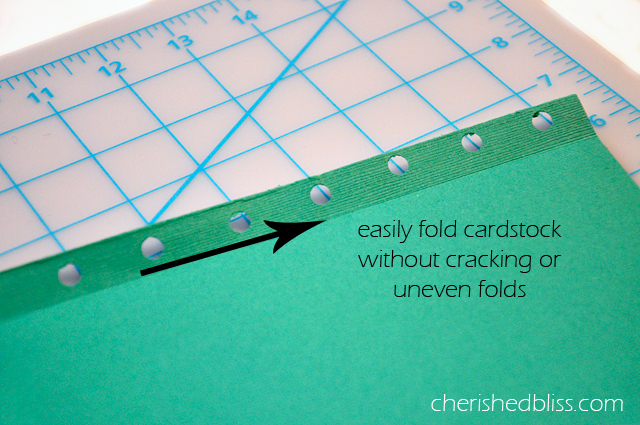 How to Score Cardstock paper with household items via cherishedbliss.com