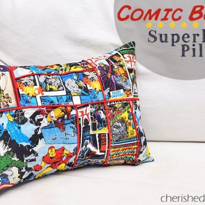 Comic Book Style Superhero Pillow