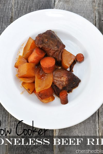 Boneless Slow Cooker Beef Ribs Recipe via cherishedbliss.com
