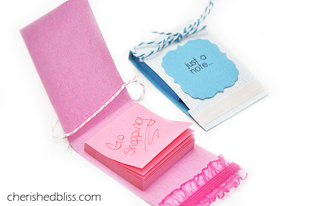 Simple and Easy Matchbook Post it Note Holder tutorial. Carry your post its in a fun way! via cherishedbliss.com