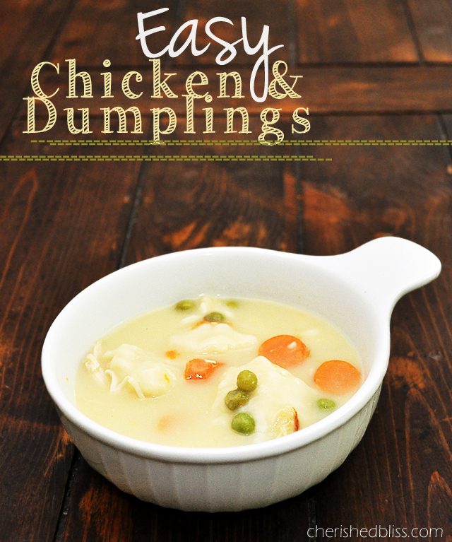 An easy Chicken and Dumplings Recipe to get you ready for the fall! via cherishedbliss.com