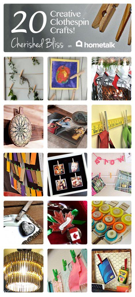 20 Creative Clothespin Craft Ideas via cherishedbliss.com for Hometalk