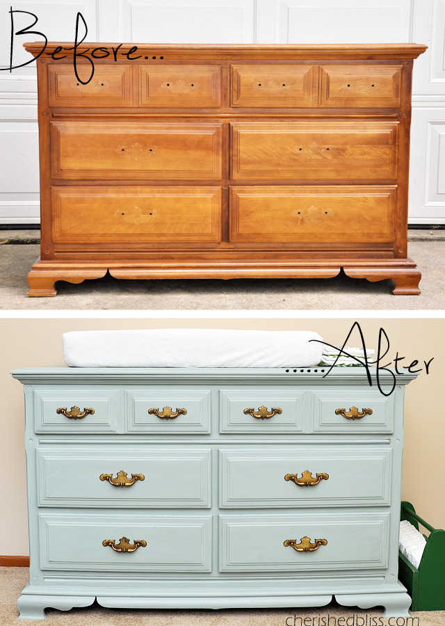How to paint a dresser maison blanche furniture paint tutorial cherished bliss - Before and after old dressers makeover with a little paint ...