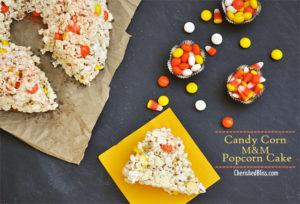 Halloween Popcorn cake made with White Chocolate Candy Corn M&M's