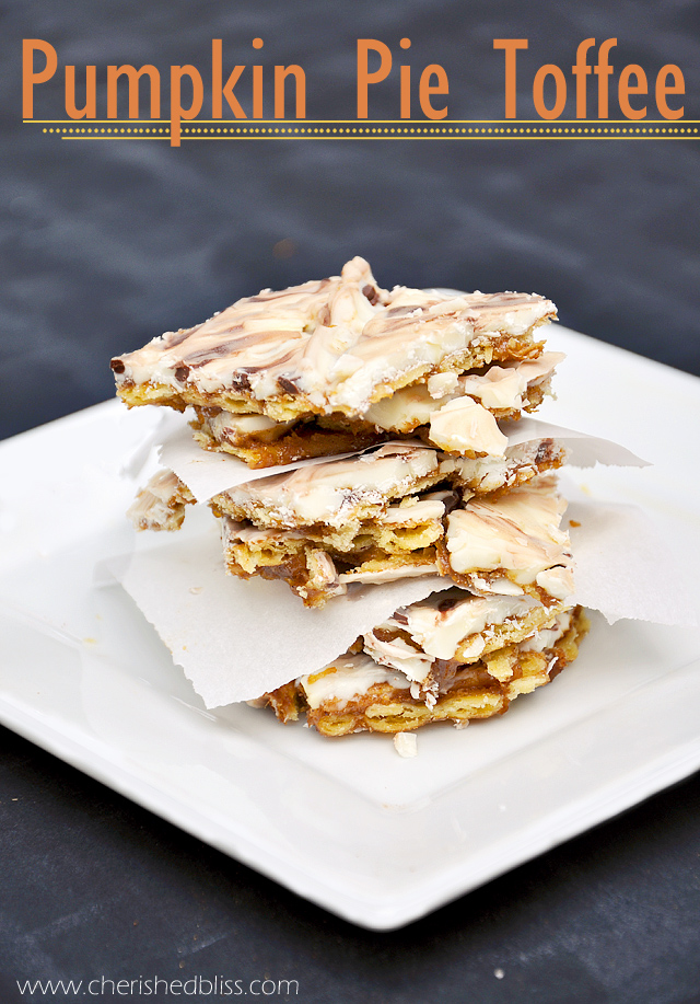 The Best Pumpkin Pie Toffee Recipe EVER via cherishedbliss.com #pumpkinpie #dessert