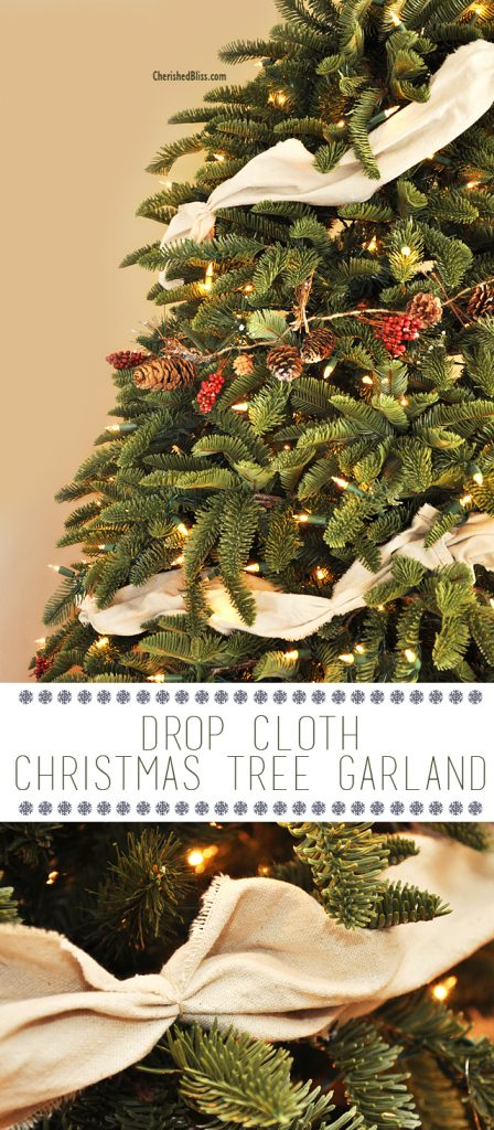 Save on your Christmas decor budget with this DIY Drop Cloth Christmas Tree Garland Tutorial