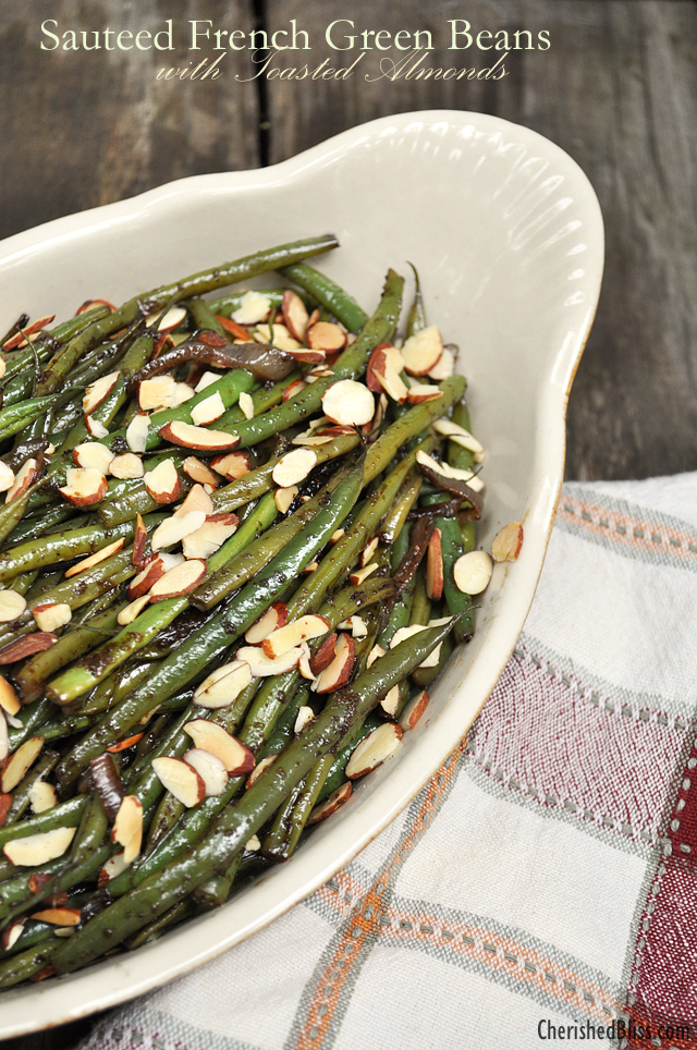 Sauteed French Green Beans with Toasted Almonds from Cherished Bliss | What to bring to friendsgiving