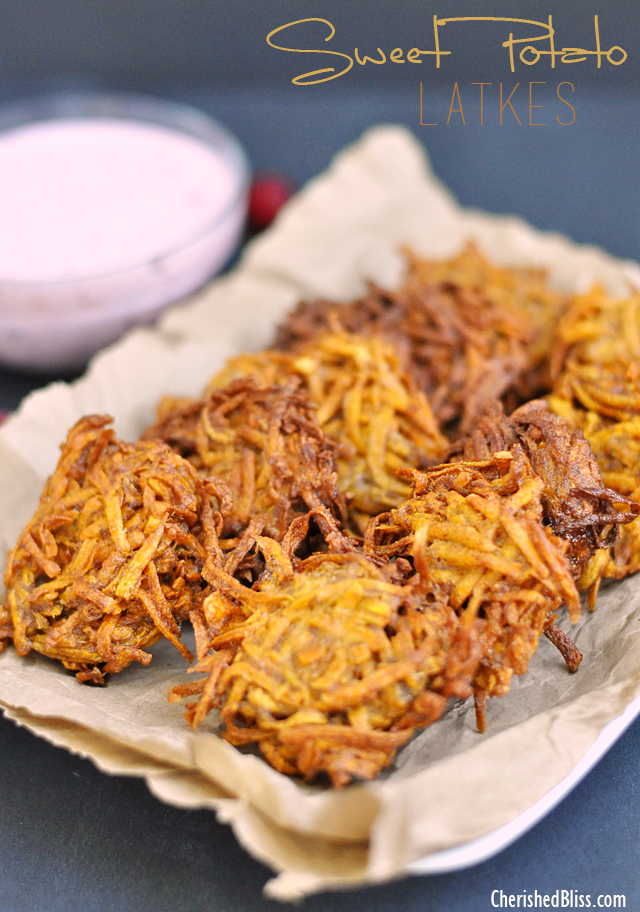 Sweet Potato Latkes recipe with a Cranberry Jalapeno Dip that adds a ...