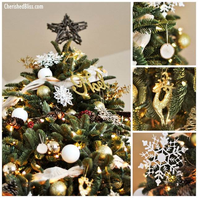 White and Gold Rustic Christmas Tree