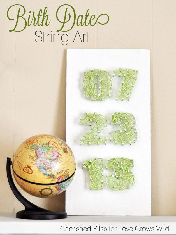 Birth Date String Art Sign tutorial via cherishedbliss.com