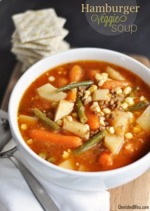 Enjoy this delicious Hamburger Veggie Soup Recipe during those cold days!