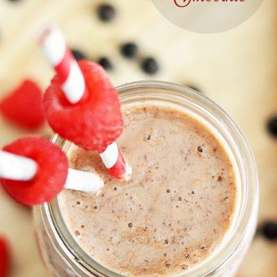 Raspberry, Banana, & Dark Chocolate Chip Sweetheart Smoothie