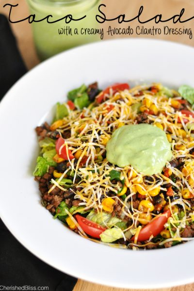 The Ultimate Taco Salad with a Creamy Avocado Cilantro Dressing