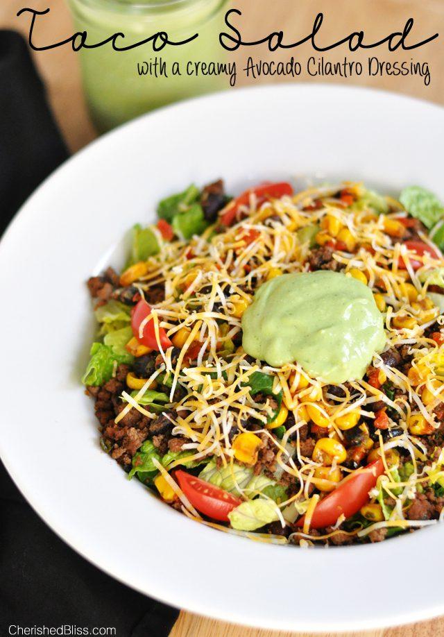 The Ultimate Taco Salad with a Creamy Avocado Cilantro Dressing