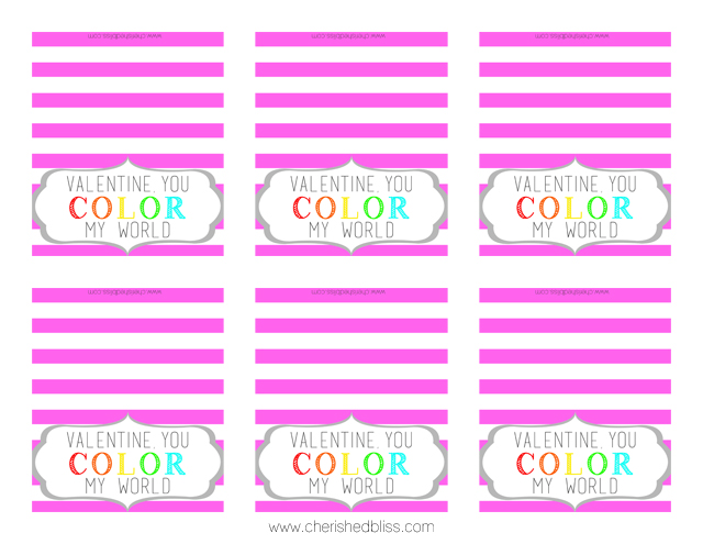 You Color My World Printable - Pink