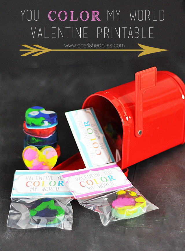 "A cute non candy Valentine ""You Color My World"" Card Printable - super cute for a class party! Find instructions on the heart shaped crayon too!"
