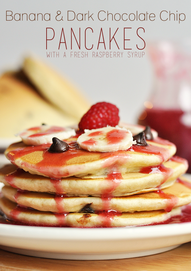 Enjoy this delicious and beautiful Banana and Dark Chocolate Chip Pancake Recipe for a special occasion, or just because!  Topped off with a Fresh Raspberry Syrup