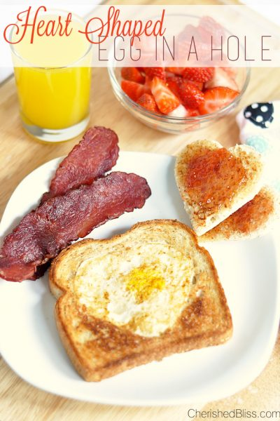 Enjoy this Heart Shaped Egg in a Hole. Perfect for any special morning!