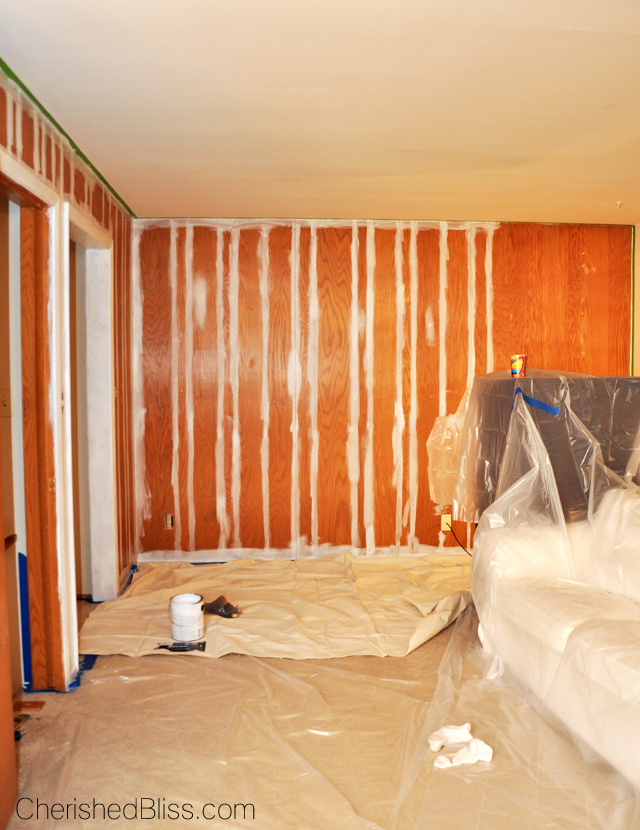How to paint wood paneling cherished bliss How to cover old wood paneling