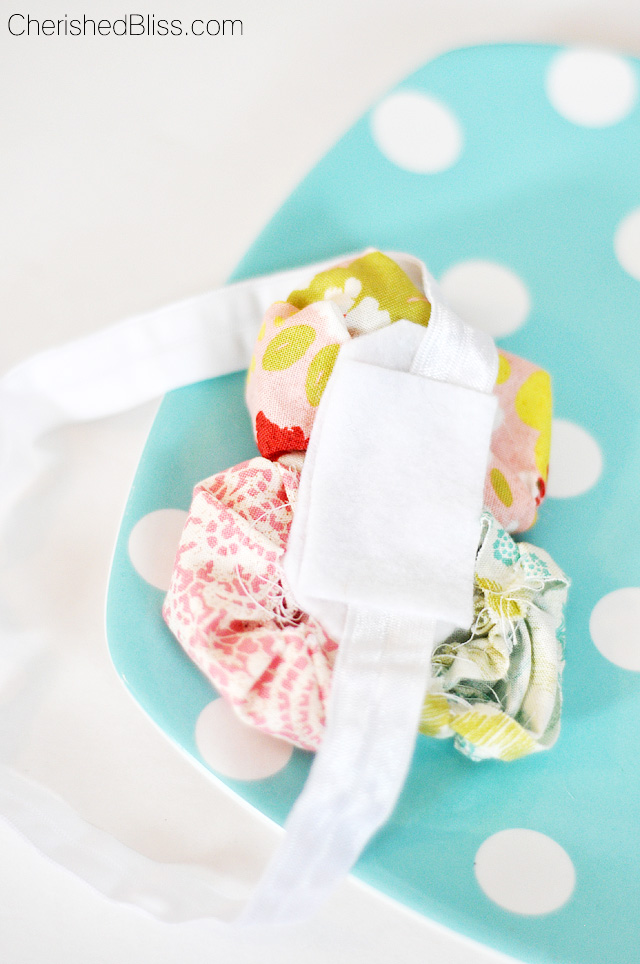 Easy Ruched Fabric Flower Headband Tutorial that any little girl will just LOVE! Makes a great photo prop too!