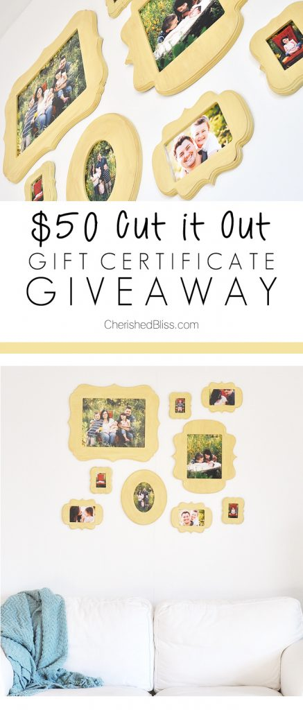 A DIY Gallery Wall using Cut it Out Frames. This is the perfect way to display all those family photos +$50 Gift Certificate Giveaway!!!