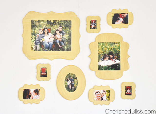 A DIY Gallery Wall using Cut it Out Frames. This is the perfect way to display all those family photos