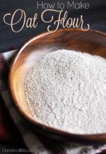 Making your own Oat Flour is very simple and all you need is old fashion oats, a food processor, or a high rpm blender.